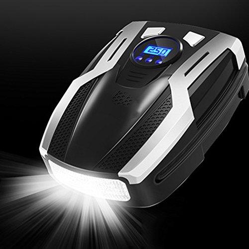 Q&F Tragbare auto luftpumpe für reifen mit notfall-led-licht Kompressor luftpumpe,Preset-digitale reifendruck luftpumpe 12v dc für auto motorräder-B