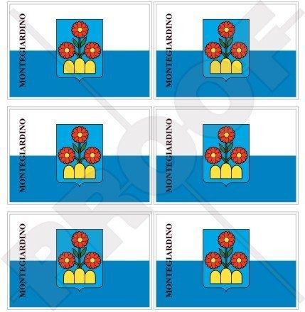 Castello Mini (MONTEGIARDINO Castello Flagge San Marino 40mm Mobile, Handy Vinyl Mini Aufkleber, Abziehbilder x6 Stickers)