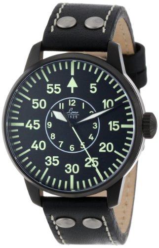 Laco 1926 - Reloj analógico automático para hombre con correa de piel, color negro