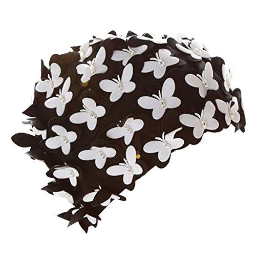 (Eizur Schmetterling/Blumen Badekappe Schwimmkappe Badehaube Schwimmhaube Bademütze Vintage Schwimmen Mütze Schwimmhüte Swimming Cap für Damen)