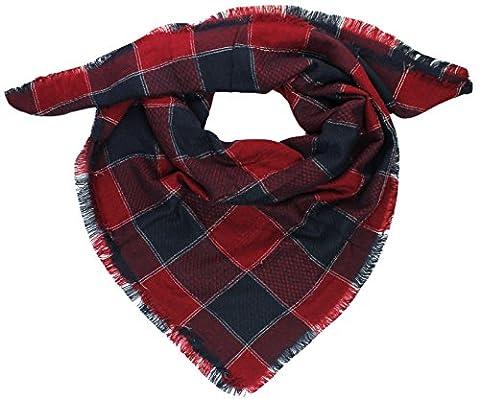 Mevina XXL Damen Schal Kariert übergroßer quadratisch Deckenschal Karo Tartan Streifen Plaid Muster Oversized Fransen Poncho Rot