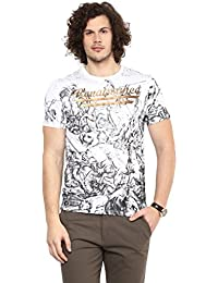 Wear Your Mind White Cotton Round-Neck Printed T-shirt For Men TSS212.1
