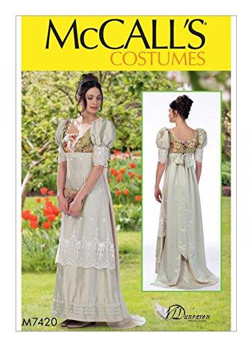 McCall 's Damen Schnittmuster 7420Empire Taille Kleid Historische Kostüm