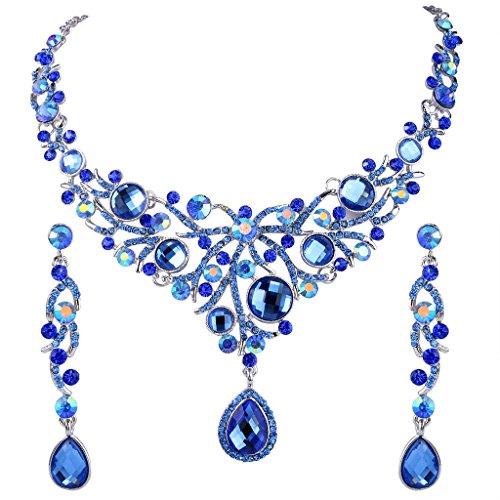 Ever Faith Collana con pendente Deluxe blu lacrima di cristallo austriaco orecchini set N02337-1