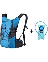 Mochila de hidratación con cisterna de agua de 2l, cómoda y ligera, sin BPA, bolsa de agua para senderismo, ciclismo o running, azul