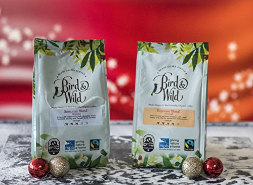 Bird & Wild Seasonal Medium Roast Whole Coffee Beans – Fairtrade, Organic, Vegan and Bird Friendly – Dark Chocolate and Floral Notes – Strength Rating 3 – Percentage of Sales Donated to RSPB – 200g