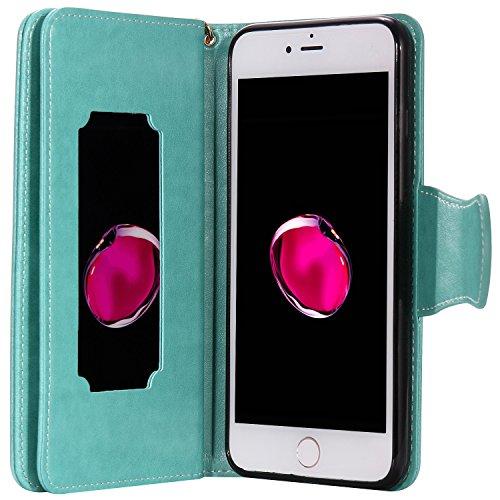 iPhone Case Cover IPhone 7 Plus Case, fleurs pressées en relief modèle de fille et de chat PU Housse en cuir avec sangle de main et 9 Slot de carte Cadre photo pour iPhone 7 Plus 5.5 pouces ( Color :  Green