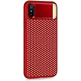JOYROOM Premium iPhone X Heat Dissipation Back Cover with Zinc Alloy Kickstand Shockproof Sleek Net Pattern Light-Weight Back Case Cover for Apple iPhone10/X - Red