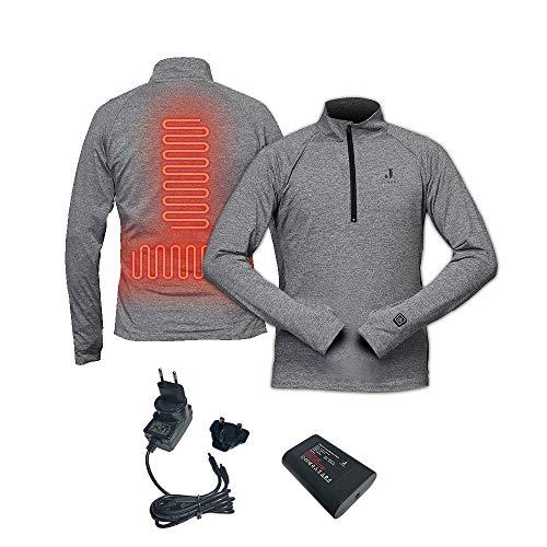 J-Jinpei 1/4 Zip Pullover Riscaldato Abbigliamento Riscaldato per Uomo e Bonna, Top Grigio Scuro + Ricaricabile Batteria con 3 Impostazioni di Calore Taglia XL