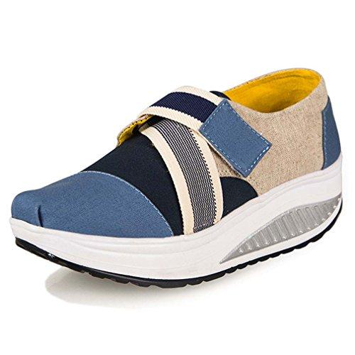 solshine Femme Print Canvas Loisirs Chaussures Sneakers Tendance avec talon compensé Sport Bleu