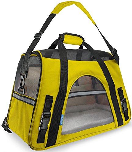Ltuotu Portador del Perro Capazos Bolsa de Transporte para Mascotas Perros Gatos Animal Transportín Plegable, Aprobado por La Aerolínea de Viajes Portador del Bolso Lateral Suave (M(43*20*28cm), amarillo)