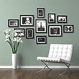 Photo Frame Set - 11 Frames - Glass Front- With Picture Mounts- 135x70cm- Frame Width 2cm - Black By Paper Plane Design