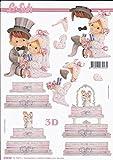 3D Bogen Hochzeit Torte Format A4 basteln Scrapbook Stanzbogen Deko
