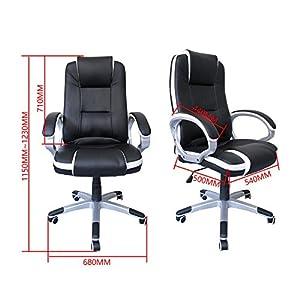 51vuFFONGwL. SS300  - HG-silla-giratoria-de-oficina-silla-de-juego-confort-superior-reposabrazos-tapizados-silla-de-carrera-capacidad-de-carga-200-kg-altura-ajustable-negro-blanco
