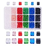 nbeads A Box of Sortierbox der Clipped Cube Style facettierte Kristall Glas Perlen 4mm 6mm 8mm für Schmuck Größen