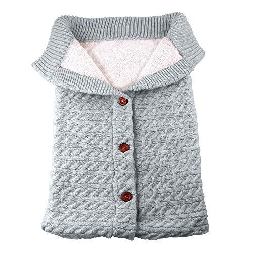 Schlafsack Baby Winter Stricken Dick Kinderwagen Wrap Babyschlafsack Warm Wickeln Swaddle Decke Reine Farbe XXYsm Grau