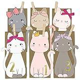 Papierdrachen DIY Adventskalender Kraftpapier Set - ausgestanzte Katzen - mit 24 braunen Papiertüten zum selbst Befüllen und zum Selbermachen - Weihnachten 2018