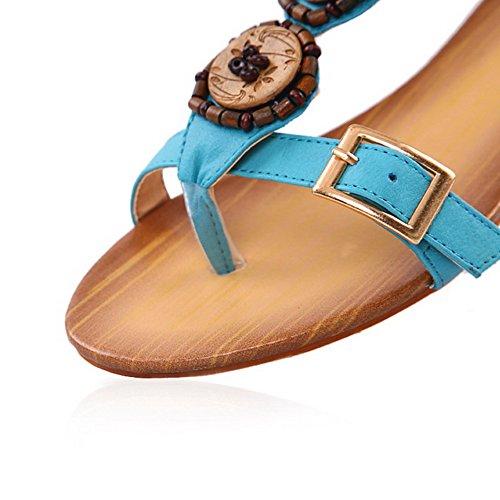 VogueZone009 Donna Punta Aperta Tacco Basso Puro Luccichio Heeled-Sandals Azzurro