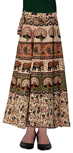 Fashiana Women Animal Print Cotton Long Warp Around Skirt Open Waist  available at amazon for Rs.299