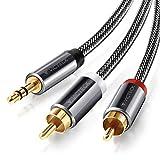 Cinch Kabel,Victeck 3,5mm Klinke auf 2 cinch Y Splitter Stereo Audio Kabel, 3M Nylon Geflochten Kabel,Vergoldet Metall Stecker