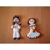 Llaneros Venezolanos Porcelana fria Iman Magneto recuerdo handmade Venezuela