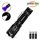 morpilot 2 in 1 LED Torch, Tactical Flashlight & UV Torch Blacklight Urine Detector - CREE LED Adjustable Focus 500 Lumens 4 Modes Zoomable Pocket Torches with 395NM Ultraviolet Black Light