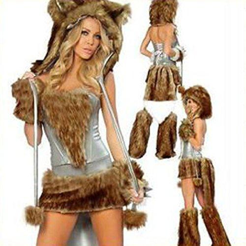 Nihiug Halloween Kostüm Sexy Waschbär Panda Tier Kleid Rolle Spielen Cosplay Spaß Versuchung Wunsch Fräulein Fashion Fashion (Kostüme Sexy Waschbär)