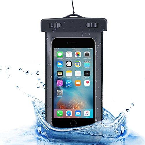 Pochette étanche, Flycool Universel Etui Housse Pochette étanche Certifiée IPX8 Imperméable avec Courroie de Cou et Brassard pour iPhone 6s/6, iPhone 6 Plus, iPhone se, Samsung, Huawei, LG, Smartphone de taille égale et inférieure à 6'' (Noir)
