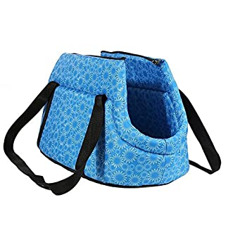 Pet Travel Carrier Tote Bag – SODIAL(R) Foldable and washable Small Dog Cat Pet Travel Carrier Tote Bag Purse Bag Soft padded small pet shoulder carrier bag tote. Blue 51vuIBnBXKL