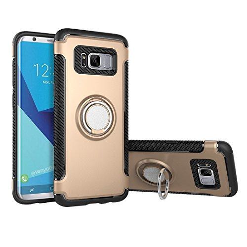 wortek Hülle mit Ring, kompatibel mit Samsung Galaxy S8 TPU Silikon Case Handyhülle 360° drehbarer Fingerhalter für Einhandbedienung und Kickstand mit Magnet auf Backcover Gold - Ring Griff-patent-tasche