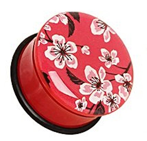10 mm Rot, (00GA) Oriental Flower Blüte UV Acryl Single Flared Plug Flesh Piercing Ohr Plug mit O-Ring. Sattel Plug Ohr Messgerät Flesh Tunnel Ohrring. (Billig-ohr-messgeräte)