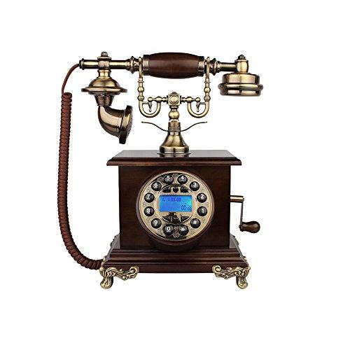WJQSD Téléphone Filaire Européen rétro téléphone Maison Bois Antique téléphone Fixe Ancien téléphone Fixe Double Support 26 * 16 * 30 cm Téléphone rétro, Salon, Bureau