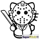 Hello Kitty Jason Eishockey Maske Killer Autoaufkleber ca 15 cm Tuning Motorsport Aufkleber Decal von SUPERSTICKI® aus Hochleistungsfolie geplottet,freigestellt ohne Hintergrund für alle glatten Flächen UV und Waschanlagenfest Profi Qualität