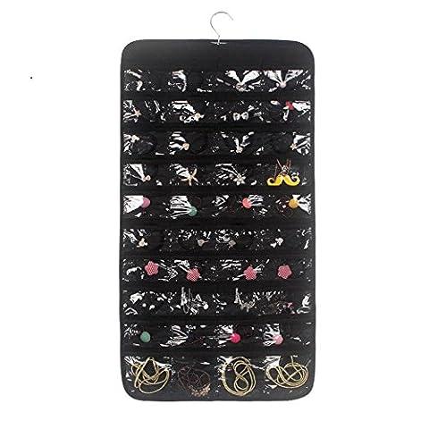 Zum Aufhängen Jewelry Organizer Dual-seitige Ohrring Halskette Organizer 80Taschen schwarz