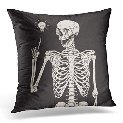 senbezüge Halloween Human Skeleton Has Idea Over Black Vintage Drawing Decorative Pillow Case Home Decor Square 18x18 Inches Pillowcase ()