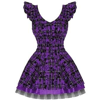 Ladies Hearts & Roses London Purple Tartan Tattoo Punk Emo Prom Party Dress Excellent Quality 16 XL