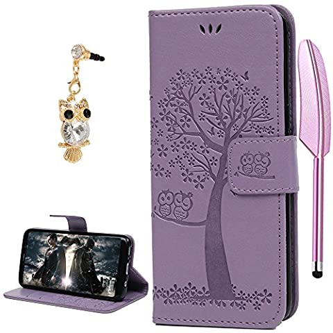 S8 Case, YOKIRIN Owl Tree Relief Embossed Premium PU Leather Wallet Folio Flip Stand Cover Case With Card Slots Cash Pouch Drop-Protection Bumper Shell for Samsung Galaxy S8 - Light