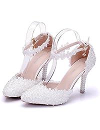 Damen Brautschuhe /Weiszlig;e Hochzeitsschuhe/Bequeme Strass High Heels/Pearl Silk Lace /Kristall Hochzeit Schuhe BrautTipp...