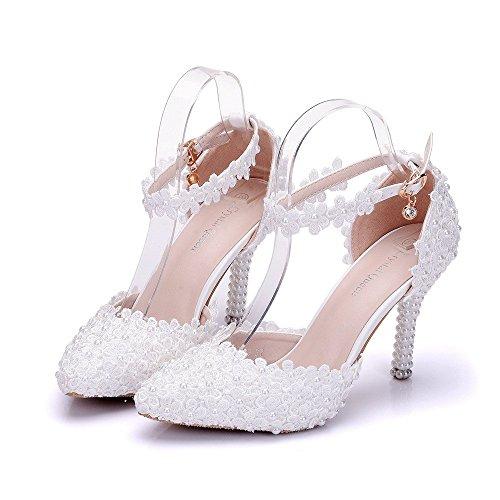 Damen Brautschuhe /Weiße Hochzeitsschuhe/Bequeme Strass High Heels/Pearl Silk Lace /Kristall Hochzeit Schuhe BrautTipp mit dünnen, weißen 40