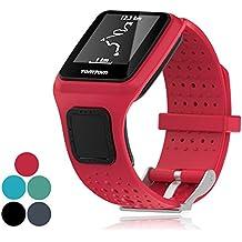 ifeeker accesorio de repuesto suave silicona Gel correa de banda de reloj pulsera Deporte Pulsera para TomTom Runner/Runner + gestión de los recursos humanos/golfista/Cardio Multi-Sport GPS Running Smartwatch (un tamaño), color rojo