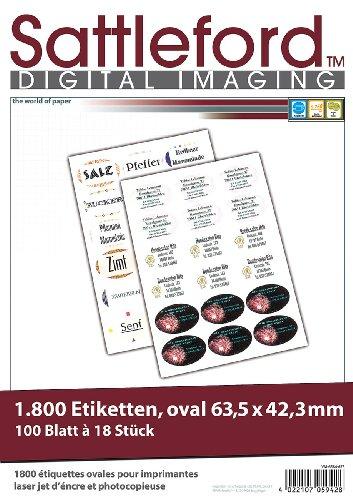 Sattleford Klebeetikett Drucker: 1800 Etiketten oval 63,5x42,3 mm für Laser/Inkjet (Aufkleber) - Avery-etiketten-oval