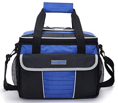 MIER Große Kühltasche Isoliertasche Thermotasche Lunchtasche Picknicktasche mit Dosierdeckel,Tragegriffe und Schultergurt, Mehrfachtaschen (Schwarz Blau)
