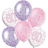 "60th Mixed Pink/White/Purple Glitz Girls Classy Happy Birthday, Anniversary, Special Occasion, Party Decoration Latex 12"" Balloons 6 In Each Pack."