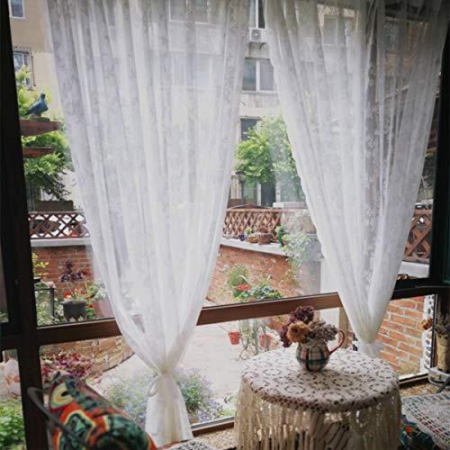 Dokot tende trasparenti ricamate bianche vintage vittoriano/drappeggi/pannelli/mantovana con tasca a bastoncino (240x280cm)