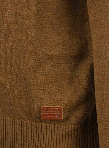 BLEND Lasse Herren Strickpullover Feinstrick Pulli mit V-Ausschnitt aus hochwertiger Baumwollmischung Meliert Dark Mustard (75116)