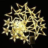KZKR LED Lichterkette Weihnachtensbeleuchtung 3,5m Lichter einzeln-blink Modus Sternenkette Vorhang Fensster Schnur Leuchter Deko Innen Außen