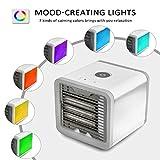 Mobiles Klimageräte Mini Tragbare Klimaanlage Luftkühler Air Cooler, 3 in 1 Klimaanlage Ventilator, Luftbefeuchter und Luftreiniger [USB Anschluß, Einstellbare 7 Stimmungslichter, 3 Windgeschwindigkeit] - 3