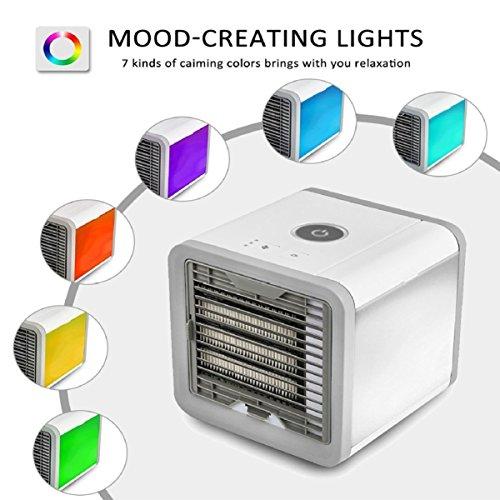 COMLIFE Aire Acondicionado Portátil Enfriador Mini 3 en 1 Espacio Personal Enfriador de Aire Humidificador Purificador Ventilador Escritorio con 3 Velocidades y 7 Colores LED Luz de la Noche