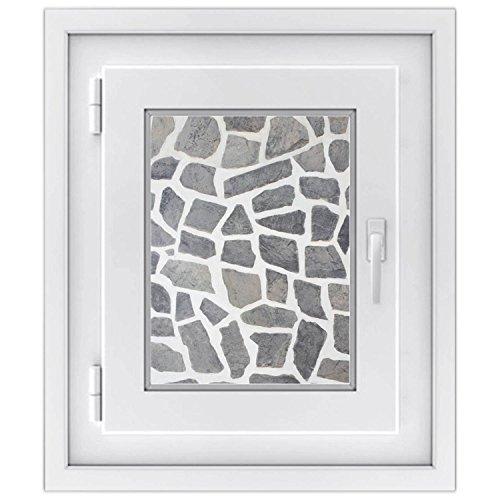 Fensterdeko - hochwertiges Fenster-bild | selbsthaftende Glasdekorfolie für Fenstergestaltung in Bad, Küche, Wohnzimmer und Schlafzimmer | einfach anzubringen | Design Steinmosaik - 30 x 40 cm