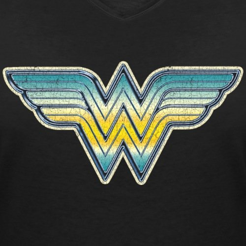 DC Comics Originals Wonder Woman Logo Dégradé T-shirt col V Femme de Spreadshirt®‎ Noir